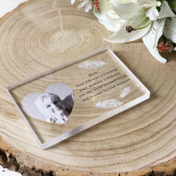 Personalised Remembrance Photo Feather Acrylic Block