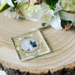 Personalised Remembrance Flowers Photo Acrylic Block