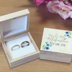 Image of Personalised Wooden Floral Couples RIng Box