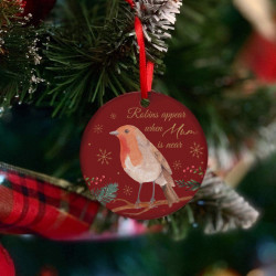Personalised Robins Appear Red And Gold Decoration - Set of 2