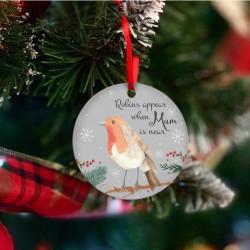 Personalised Robins Appear Christmas Tree Decoration - Red And White - Set of 2