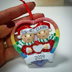 Personalised Christmas Same Sex Couple Hanging Decoration
