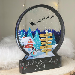 NEW Personalised Ski Lodge Snowglobe Style Themed Ornament