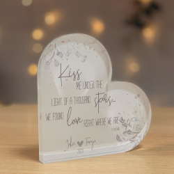 Personalised Special Lyrics Acrylic Heart Block