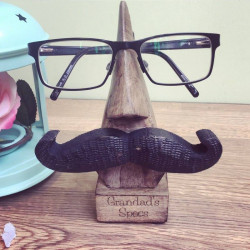 Image of Engraved Wooden Personalised Moustache Glasses Holder