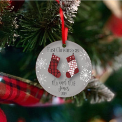 Personalised Red & White Stockings Christmas Tree Decoration - Set of 2