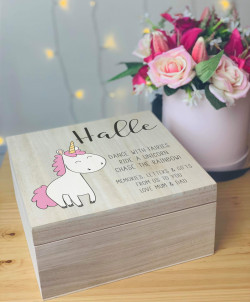Personalised Unicorn Memory Box