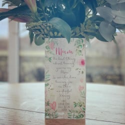 20cm Personalised Floral White Background Vase
