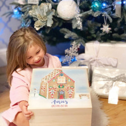 Personalised Wooden Gingerbread House Christmas Eve Box  - PRE ORDER FOR DECEMBER DISPATCH