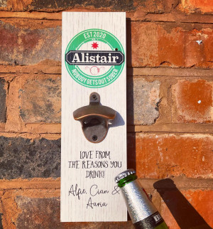 Personalised Printed Beer Bottle Opener Plaque - H