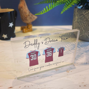 Personalised Football Shirts Acrylic Block - GUARANTEED FOR FATHER'S DAY DELIVERY