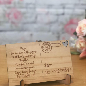 Personalised Wooden Engraved Postcard