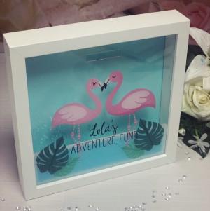 Personalised Flamingo Themed Fund Box