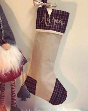 Luxury Cream and Tartan Stocking