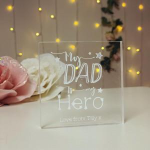 Personalised My Dad Is My Hero Acrylic Block