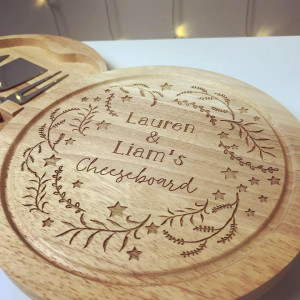Personalised Christmas Wreath Cheese Board