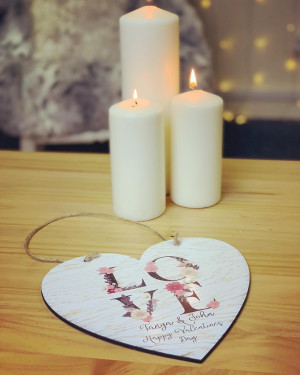 Personalised LOVE Heart Shaped Hanging Plaque