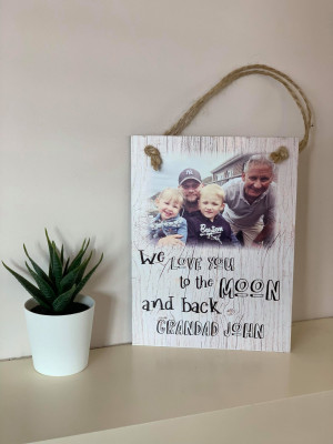 Photo Wall Plaque 'to the moon & back' design