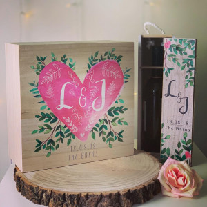Personalised Printed Heart & Leaf Wedding Memory Box and FREE wine box set