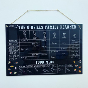 Personalised Blackboard Character Family Planner