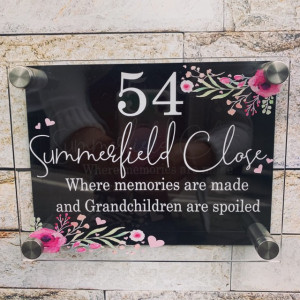 Personalised Floral House Plaque