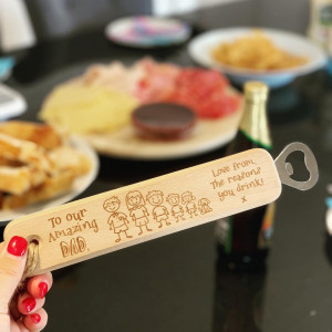 Personalised Engraved Wooden Character Bottle Opener Handheld