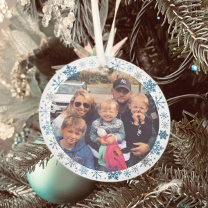Personalised Snowflake Photo Tree Decoration - Icy Silver -SET of 2