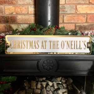 Personalised 'Christmas At The...' Mantelpiece Sign - Champagne & White