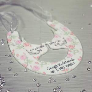NEW Personalised Hanging Wedding Horseshoe Plaque - Pink Floral Theme