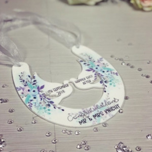 NEW Personalised Hanging Wedding Horseshoe Plaque - Lilac Floral Theme