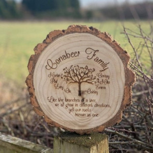 Engraved Family Tree Log Slice