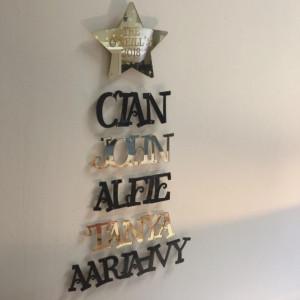Hanging Names Tree - Black & Mirrored Gold