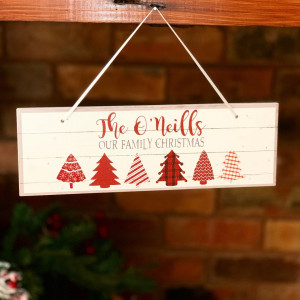 Personalised 'Our Family' Hanging Christmas Sign - Red & White