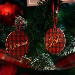 Personalised Tartan Name Christmas Tree Decoration - Set of 2