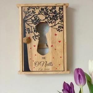Personalised Hearts Tree Key Holder Box