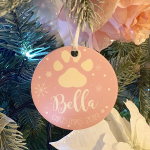 Personalised Pet Christmas Tree Decoration - Blush Pink