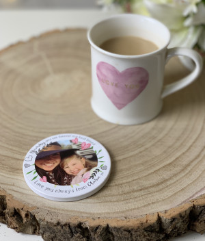 Personalised Floral Photo Ceramic Coaster