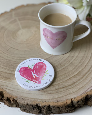 Personalised Monogram Heart Ceramic Coaster