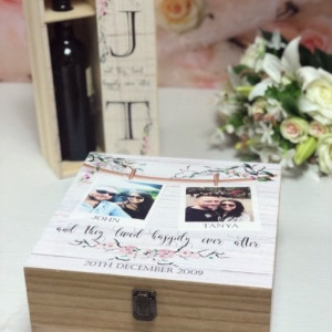 Personalised Printed Wedding Memory Box and FREE wine box set - Photo Design