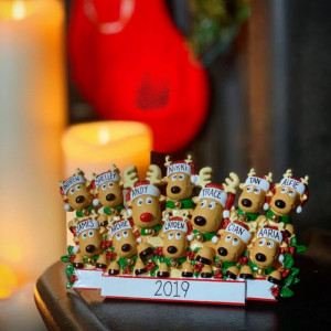 Personalised Reindeer Head Family Freestanding Decoration