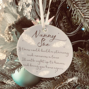 Personalised Remembrance Christmas Tree Decoration - Icy Silver -SET of 2