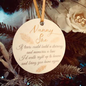 Personalised Remembrance Christmas Tree Decoration - Champagne & White - SET OF 2