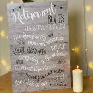 Large Personalised Retirement Rules Sign