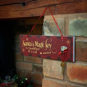Personalised Santa's Magic Key Plaque - Red & Gold