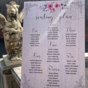 Personalised Ornate Floral Table Plan Wedding Sign