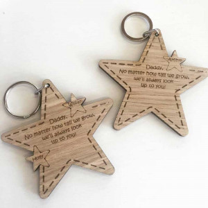 Personalised Fathers Day Star Keyring Set