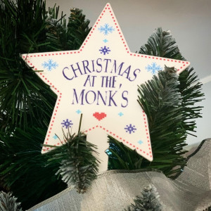 Personalised 'Christmas At The...' Star Tree Topper - Nordic Scandi