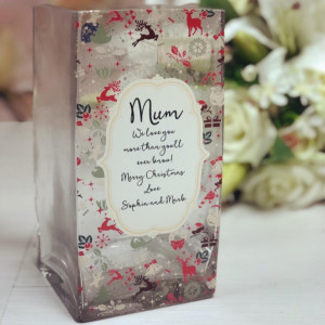 New 20cm Personalised Christmas Print Vase