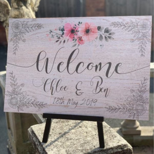 Personalised Welcome Ornate Floral Wedding Sign