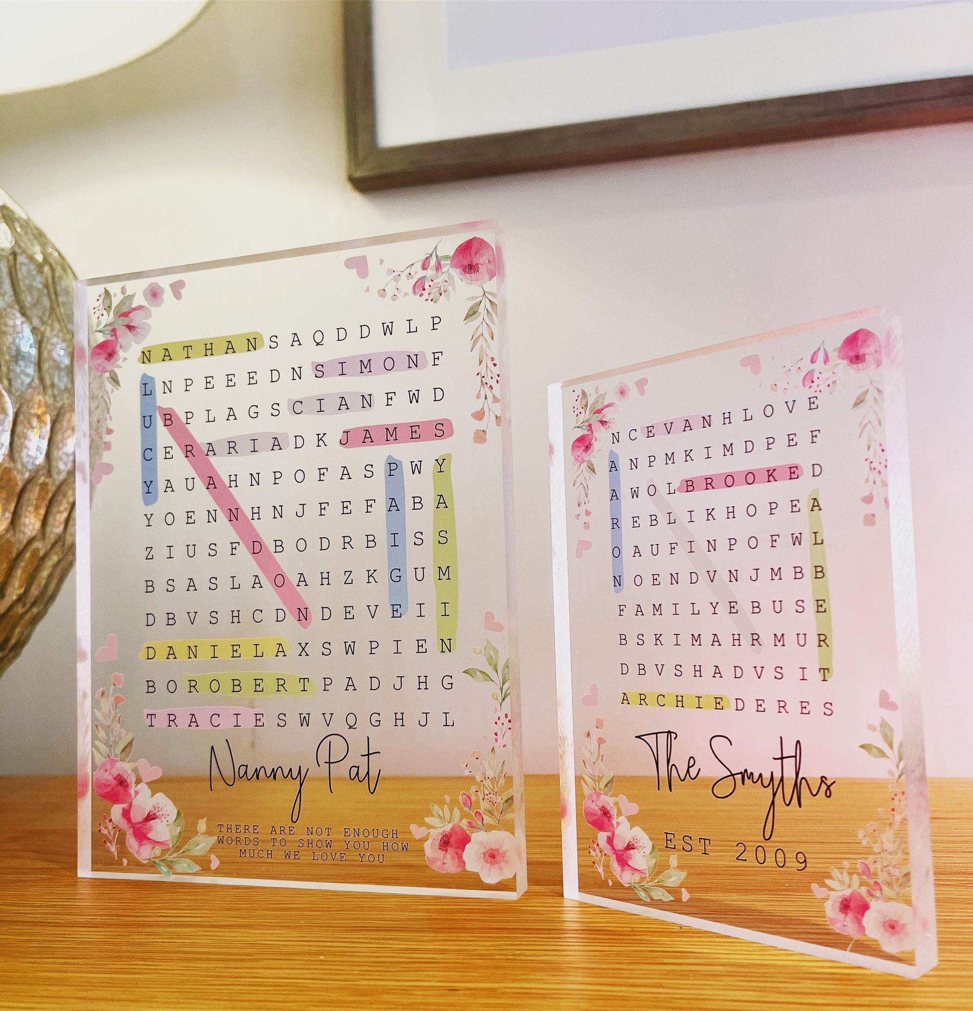 Personalised Family Word Search Acrylic Block - Floral Design **GUARANTEED FOR MOTHER'S DAY DELIVERY**